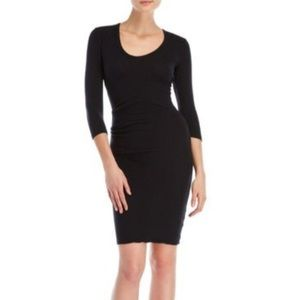 James Perse Classic Ruche Black Dress